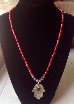 Red & Silver Beaded Hamsa Necklace by AmaniMaharet on Etsy, $25.00