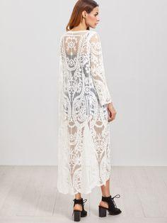 Embroidered Mesh Longline KimonoFor Women-romwe