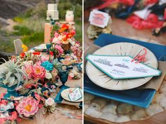 Centerpieces to die for! love!!!Mid-Century Desert Wedding Inspiration.... I love the colours on this table.
