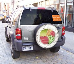 Sushi Spare Wheel  Clever advertisement for Yuzu Sushi by Lg2, Quebec, Canada.