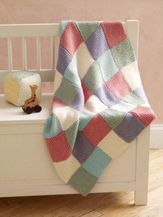 ₩₩₩ Image of Loom Knit Patchwork Garter Baby Throw
