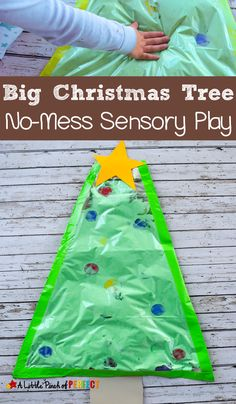 A Big Christmas Tree No-Mess Sensory Play Activity for Kids: Kids love putting their hands on the Christmas tree and this time you don't have to worry because ornaments wont break, a mess wont be made, and they can play as much as they want during this fu Sensory Activities For Preschoolers, Christmas Activities For Toddlers, Holiday Activities, Christmas Crafts For Kids, Infant Activities, Motor Activities, Indoor Activities, Summer Activities, Family Activities