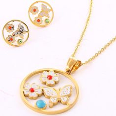 Butterfly Pave Pendant Necklace/Earrings Set