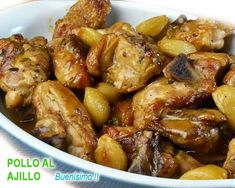pollo al ajillo al horno Time To Eat, Tamales, Other Recipes, Chicken Wings, Salmon, Chicken Recipes, Healthy Eating, Favorite Recipes, Cooking