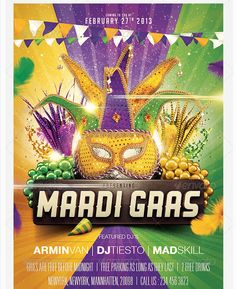 Mardi Gras Carnival Flyer Template - Party Flyer Templates For ...