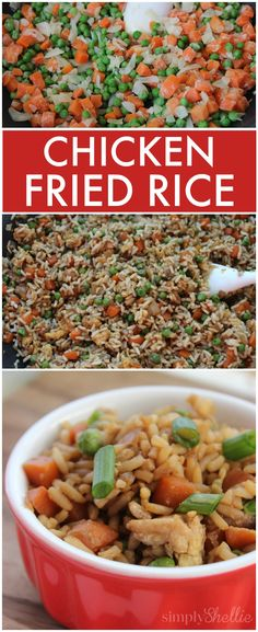 A homemade version of your favorite Chinese takeout! This is the easiest chicken fried rice recipe you'll find and perfect for a quick weeknight meal or dinner on the run.