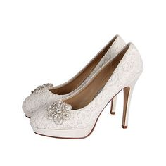 Rainbow club #starry eyed ivory cotton lace & #diamante bridal #wedding shoe,  View more on the LINK: http://www.zeppy.io/product/gb/2/331897132863/