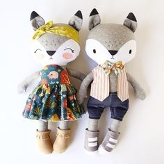 FINALLY made that boy fox I was talking about. Although, they look more like grey wolves.😅 So question: is the vest/bow tie without a shirt too much on this foxy dude?Raccoon dolls in colourful folk outfitsHandmade Bunny Doll by lespetitesmainsS o Softies, Sewing Crafts, Sewing Projects, Sewing Ideas, Fabric Toys, Fabric Sewing, Fabric Animals, Sewing Dolls, Soft Dolls