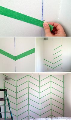 Taping up a Herringbone Accent Wall {Sawdust & Embryos}