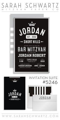 Vintage Varsity Bar Mitzvah Invitation with stripoes from www.sarahschwartz.com/blog