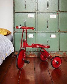 vintage industrial drawers and bike