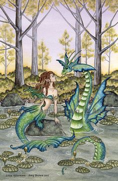 Mermaid  and  Sea Serpent Dragon 8.5x11 PRINT by door AmyBrownArt