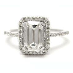 Antiqye Style Emerald Cut Diamond Engagement Ring Eternity Style Band E12