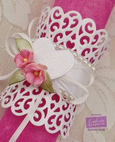 Napkin holder made using Crafter's Companion Die'sire Hearts, Cupcake Lace Hearts die, Die'sire Delicate Flower, White Centura Pearl card. Made by Liz Walker - #crafterscompanion