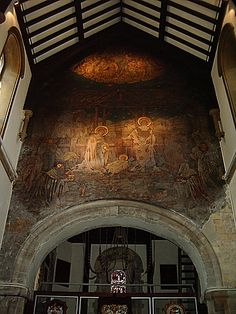 "Medieval Mural, St Mary the Virgin Church, Dover, Kent, UK - Two years after the dissolution,this church, had belonged to the Maison Dieu,was given to the parishioners by Henry VIII, who was then at Dover.King John resigned his crown,to Pandulph (Pandulf Masca),the pope's legate,in the presence of earls and barons;but that degrading ceremony took place in the house of knights templars at Swingfield,King John agreed to submit to the Pope's ""apud domum militum Templi juxta Doveram."""