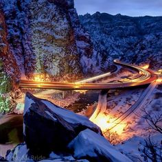 """Photo by @pedromcbride //Shoshone Dam in Glenwood Canyon at dusk where a 2010 rockslide toppled a 62-ton boulder onto the freeway and closed it for several days. The 19-mile section of river in Glenwood Canyon is famous for whitewater boating and the four-lane construction - finished in 1992 - that cost more than all of Interstate 70 from Washington D.C. to western Utah. For 2.5 miles below the 1902 dam the most dangerous rapid on the entire river (""""Upper Death"""") often has its water diverted…"""