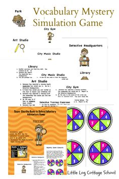 Super Sleuths- Mystery Adventure Game {Back to School FREEBIE} This FREE mystery simulation game compliments the first Vocabulary ELA Unit for our 3rd-5th graders.  8 Vocabulary words are embedded in the game to help solidify meaning and to help apply the words to real life.  Great game for the first day of school!