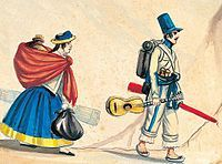 francisco fierro   ... soldado , acuarela de Pancho Fierro de mediados del siglo XIX