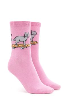 A pair of knit crew socks featuring a graphic of a cat riding a pizza skateboard and a ribbed trim. Crazy Socks, Cool Socks, Shop Forever, Forever 21, Pizza Socks, Kids Socks, Dress And Heels, Tight Leggings, Sock Shoes