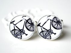 Black bike cufflinks 02 - keepsake gift for him on wedding day or any day - black and white vintage cuff links