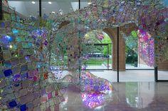 "Rice University Art Gallery installation from American artist: Soo Sunny Park. Titled: ""Unwoven Light""."