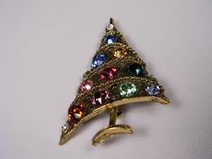 Weiss Christmas Tree Brooch Signed MultiColored by dianadivine, $75.00