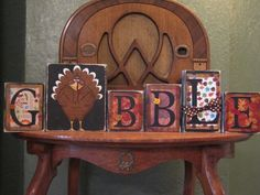 Punkin Seed Productions Custom Sign Word Blocks by PunkinSeedProduction Thanksgiving Wood Crafts, Thanksgiving Signs, Thanksgiving Decorations, Xmas Crafts, Fall Crafts, Halloween Decorations, Turkey Painting, Painting On Wood, Wooden Pumpkins