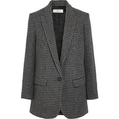 Étoile Isabel MarantIce Houndstooth Wool-blend Blazer (€500) ❤ liked on Polyvore featuring outerwear, jackets, blazers, grey, straight jacket, houndstooth blazer, slim jacket, slim blazer jacket and slim fit blazer