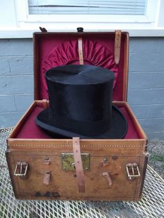 Victorian Mens Top Hat with original leather case NY PA Tag Large Size fine 7+ | eBay