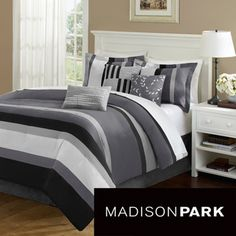 Madison Park Laurel Stripe Grey 7-piece Comforter Set