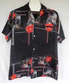 3ef7c311 Vtg Kai Nani Hawaiian Shirt Hibiscus Floral Palm Trees Black Red Aloha  Friday XL Aloha Friday