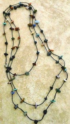 Stone Chips Necklace Boho Bohemian Jewelry Gypsie by Franca&Nen #francaandnen