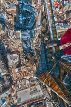 he subject, a Ukrainian roofer, risks his life by climbing and hanging from towering buildings and scaffolding. The brave photographer follows suit, putting his own life in danger to create the images you see