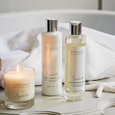 The White Company US. Seychelles Luxury Set | Evoking the balmy breeze of an Indian Ocean island, soothing Seychelles combines notes of fresh bergamot, bright orange and rich amber with warming notes of exotic coconut, vanilla and almond. This lovely pampering set comes in a beautiful white gift box. Pinning from the UK Site? -> http://www.thewhitecompany.com/candles-and-fragrance/our-fragrances/seychelles/
