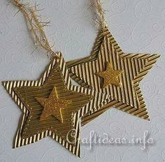 Christmas Crafts for Kids - Corrugated Glittery Christmas Star Ornaments Handmade Christmas Decorations, Christmas Ornament Crafts, Star Ornament, Noel Christmas, Christmas Gift Tags, Christmas Crafts For Kids, Christmas Activities, Holiday Crafts, Christmas Projects