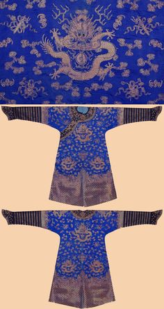Antique Chinese Robe costumes Court Robe, Dark Blue ground, silk and gilt Goldr metal thread Embroidery with nine dragons chasing flaming pearls front and back, similar dragons on shoulders, amidst clouds and flying cranes, above waves and mountains, striped lower section.. Ching Dynasty. 1644 – 1911
