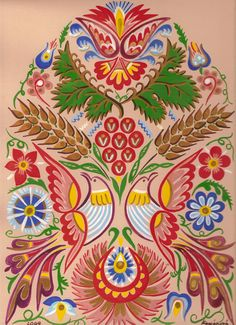 Contemporary Decorative Art, Polish Folk Art, Arte Popular, Naive Art, Painting Inspiration, Flower Art, Objects, Doodles, Embroidery