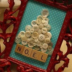 Vintage Button Christmas Tree Art {Christmas Things} ~ button and scrabble letters...what could be easier...and so pretty too ~