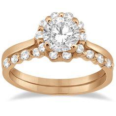 Allurez Floral Diamond Halo Engagement Bridal Set 14k Rose Gold (0.40ct) featuring polyvore, fashion, jewelry, rings, floral engagement rings, halo diamond ring, floral wedding ring, wedding band rings and bridal wedding rings