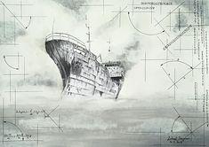 poslední plavba na vrakoviště _ kresba tužkou a acrylem na papír, formát A3, Luboš Dejdar