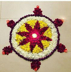Rangoli Designs Flower, Rangoli Designs Diwali, Flower Rangoli, Beautiful Rangoli Designs, Home Wedding Decorations, Festival Decorations, Flower Decorations, Hindu Festival Of Lights, Floating Flowers