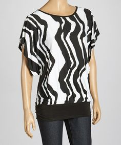 Take a look at this Black & White Zigzag Cutout Scoop Neck Top on zulily today!