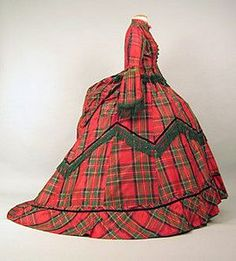 Queen Victoria's Swore a lot of tartan/plaid to honor the Scottish that featured a combination of different fibers; also taffeta.