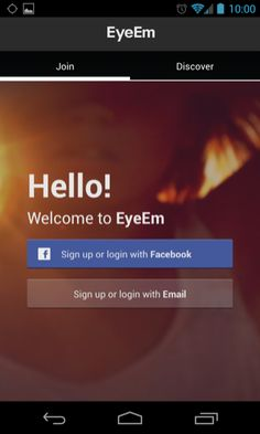EyeEm Android sign up flows screenshot