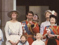 June Princess of Wales with the Queen Mother at Trooping the Colour ceremony, also Prince Charles and Princess Diana with the Royal family on the balcony of Buckingham Palace at Trooping of the Colour. The Last Princess, Royal Princess, Prince And Princess, Princess Of Wales, Charles And Diana, Prince Charles, Trooping Of The Colour, Princess Diana Photos, Diana Fashion