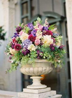 Large-Burgundy-and-Purple-Wedding-Floral-Arrangement via Elizabeth Anne Designs Boquette Wedding, Purple Wedding, Floral Wedding, Wedding Flowers, Wedding Ceremony, Hotel Flower Arrangements, White Floral Arrangements, Altar Flowers, Church Flowers