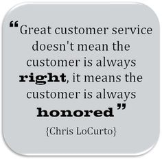 Twitter / ChrisLoCurto: Great customer service means ...