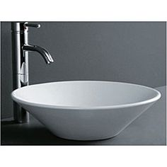 @Overstock - Accentuate your bathroom decor with this inviting white vessel lavatory sink  Carefully constructed sink has a round tapered cone design  Bathroom vessel sink is made of vitreous chinahttp://www.overstock.com/Home-Garden/Round-Cone-Porcelain-Bathroom-Vessel-Sink/3654867/product.html?CID=214117 $128.99