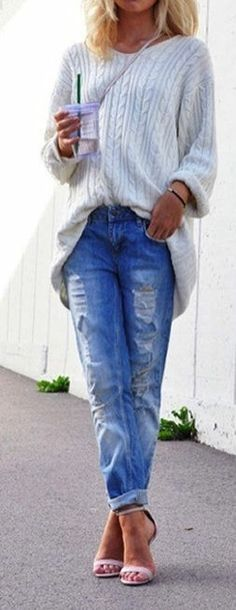 Boyfriend Jeans & Heels // Dreaming of the days I can wear open toe shoes - Come on Spring!!!