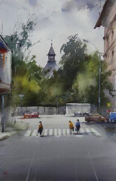 Ilya Ibryaev plein Air in Moscow - watercolor - 53х35 cm